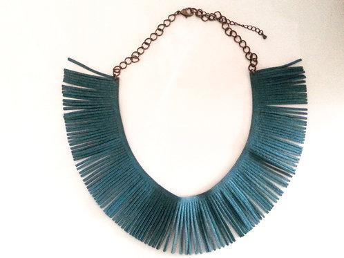 Teal Fringe Necklace