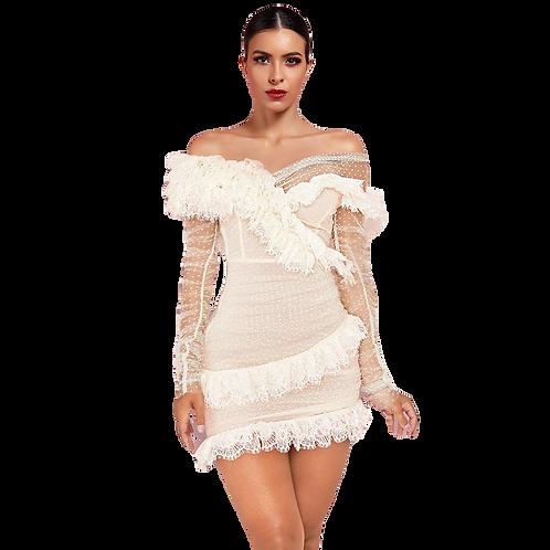 Multi Texture Off The Shoulder Dress