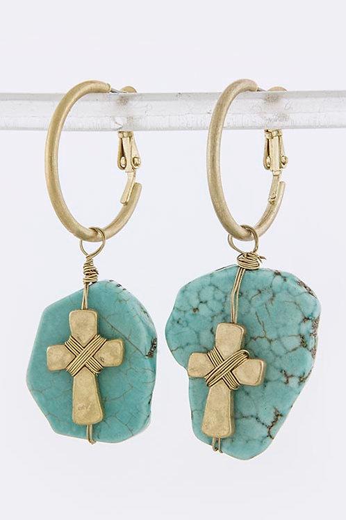 Cross Stone Drop Earrings