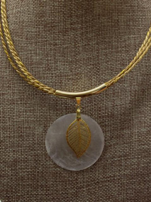 Gold Leaf Accent Mother Of Pearl Necklace