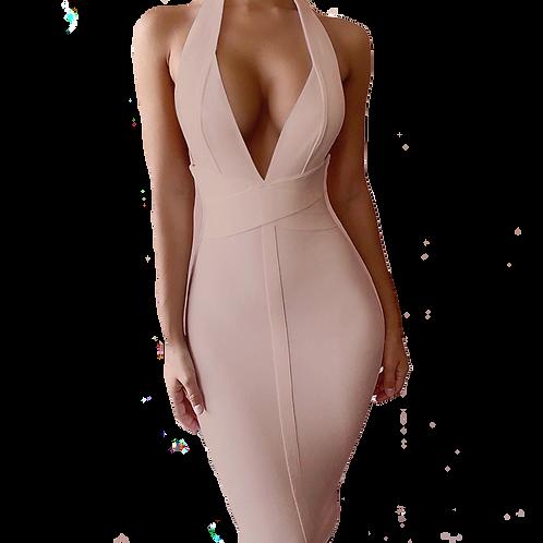 Nude Halter Bandage Dress