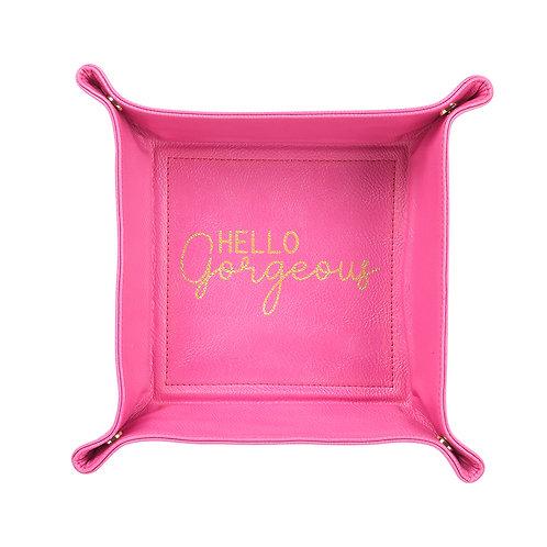 Hello Gorgeous Pink Trinket Tray