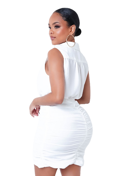 White Rouched Dress