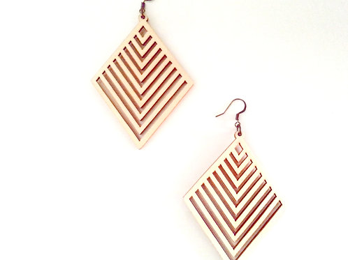 Diamond Laser Cut Wooden Earrings