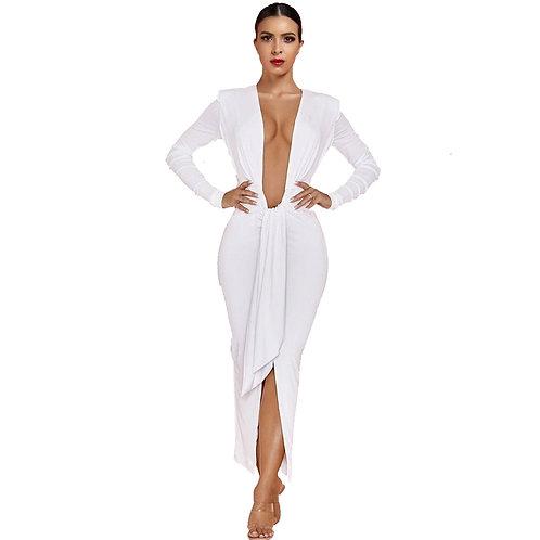 Deep Plunge White Midi Dress