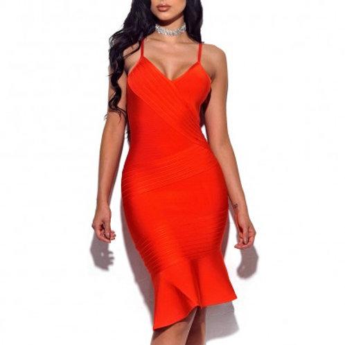 Orange Frill Bottom Bandage Dress
