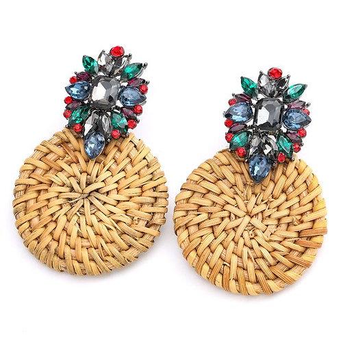 Jeweled Rattan Earrings