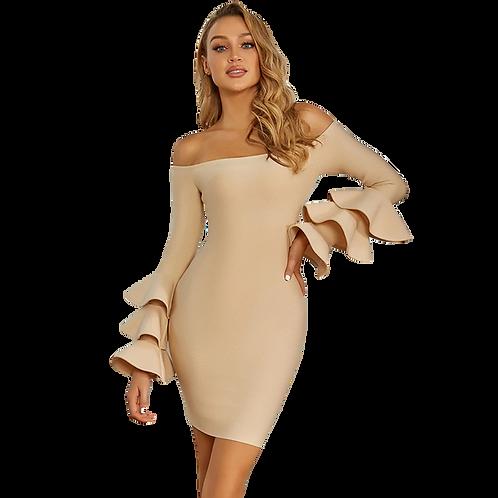 Nude Frill Shoulder Dress