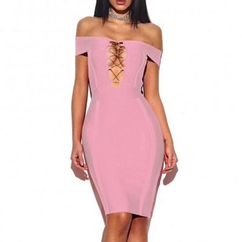 Pink Off The Shoulder Bandage Dress