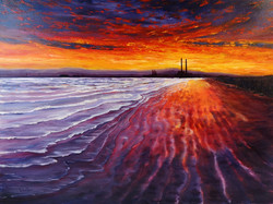 SOLD - Red Sunset, Dollymount