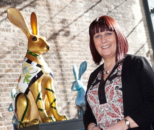 Lorraine with her Hare for the Jack & Jill foundation.