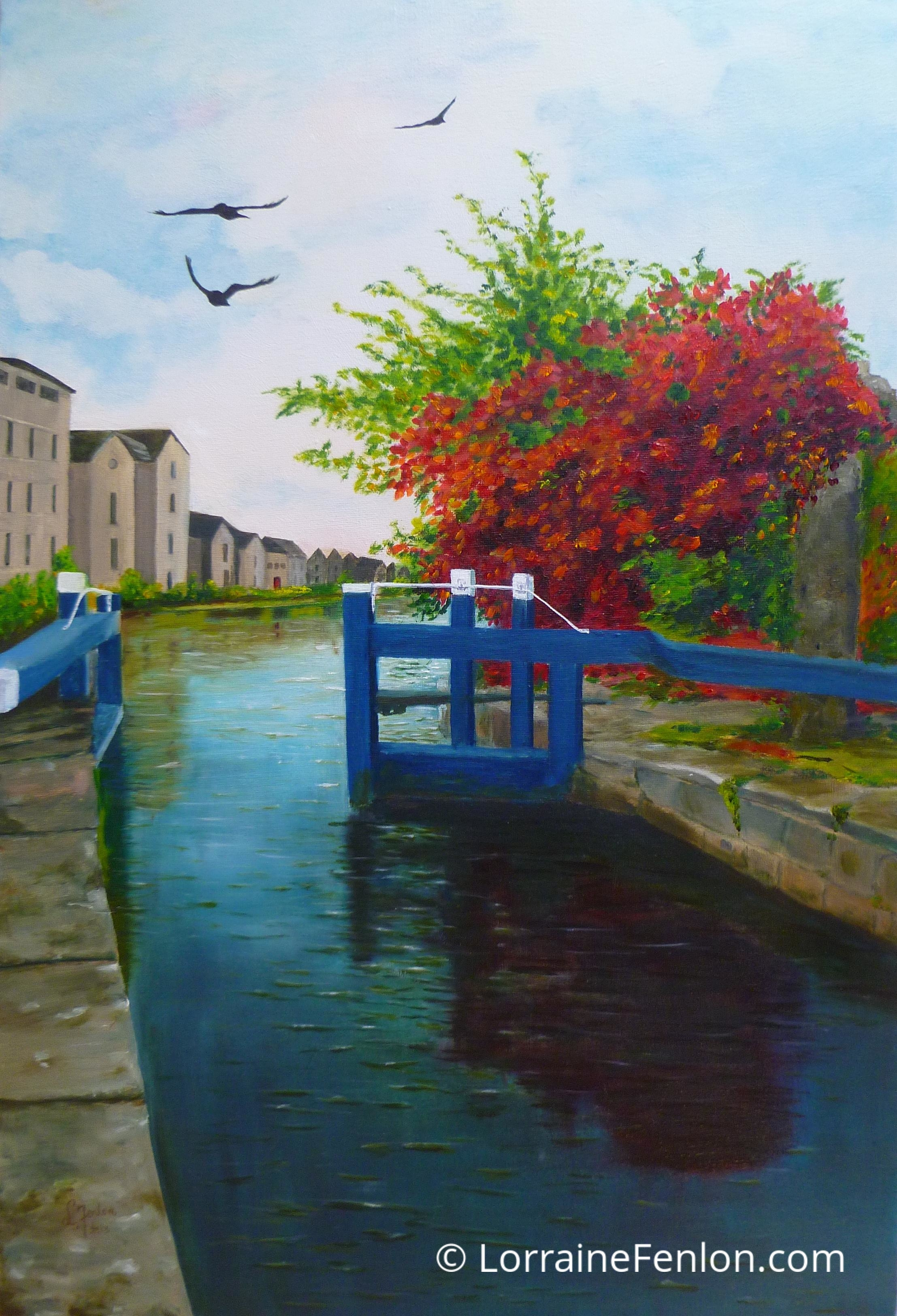 Crows over Websters Lock - Sold
