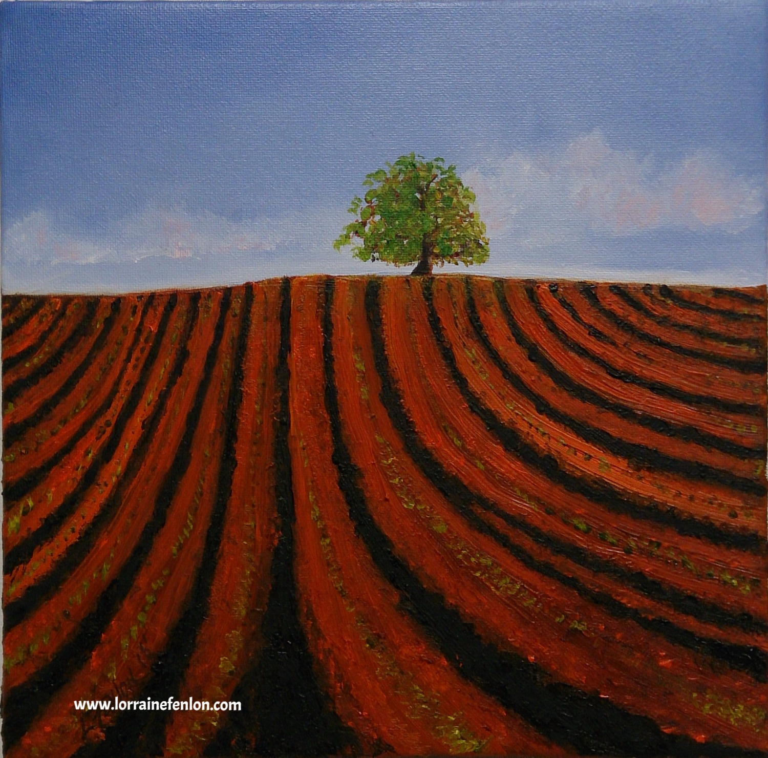Copper Field - Oil 20 x 20cms framed