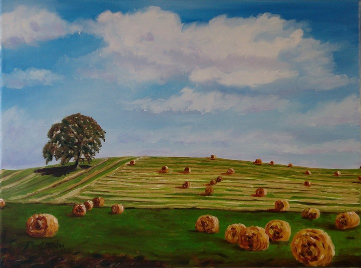 Carlow Tree with Bales - oil on canvas