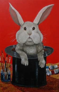 Rabbit in a Hat - Oil & mixed Media