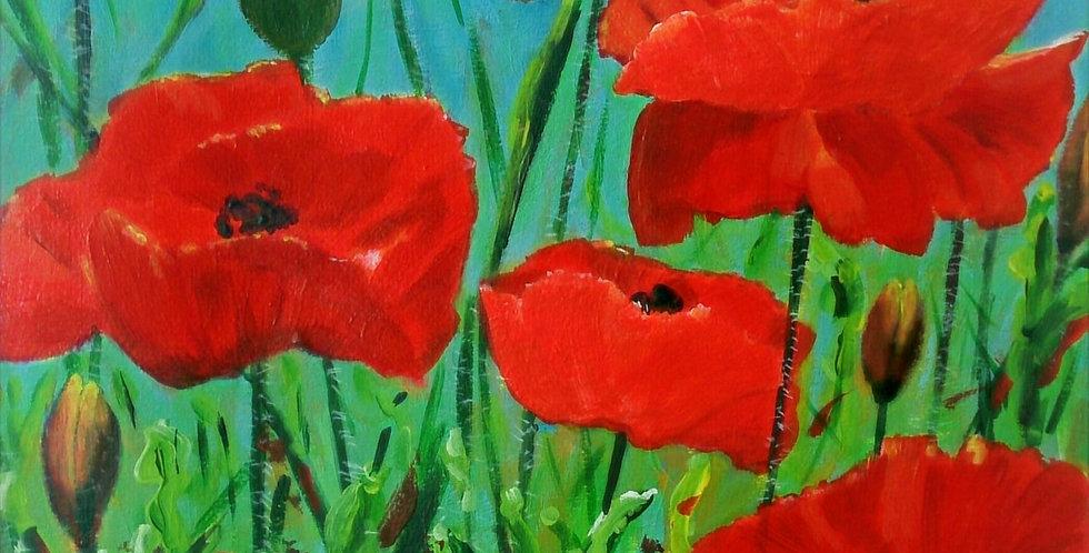 Original - Poppies & Blue Sky