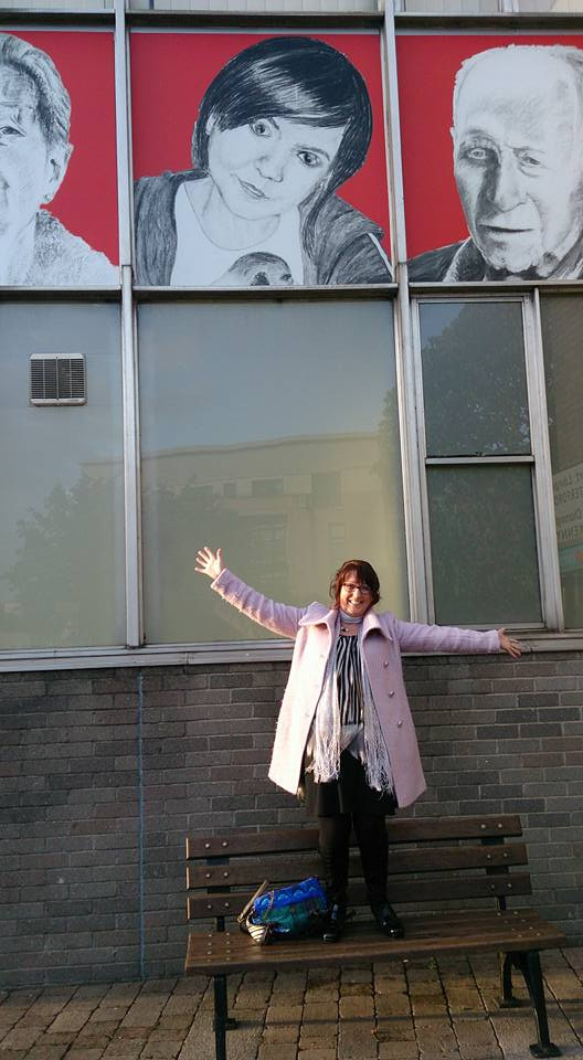 Me under my giant portrait of sweet Amy Lawlor RIP age 17