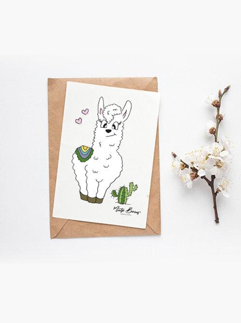 Foto/postal decorativa Llama 10 x15 cm)