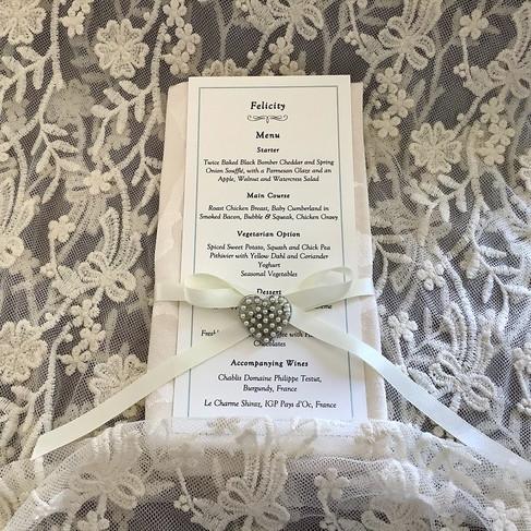 Bespoke Ivory Linen Wedding Menu Card with Pearl Heart and Ribbon. Bespoke Stationery Handmade to Order Norfolk.