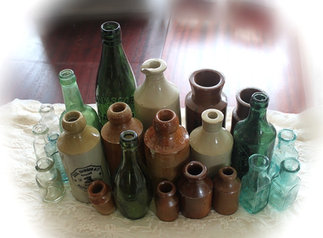 Vintage stoneware and glass bottles