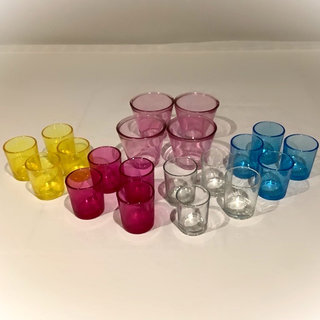 Multi Coloured Glass Tea Light Holders