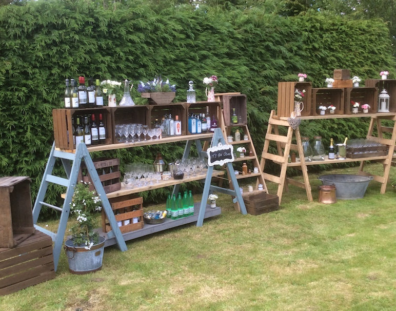 Drink Station Made from Vintage Trestles and Crates. Available to Hire North Norfolk