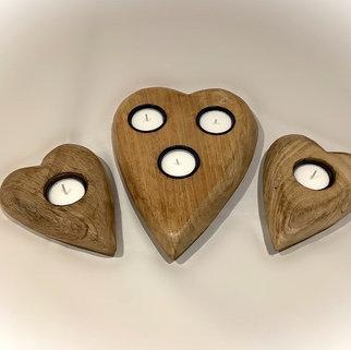 Three Wooden Heart Tea Light Holders