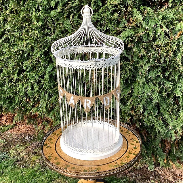 Bird Cage Card Collecting Wedding with Hessian Cards Sign
