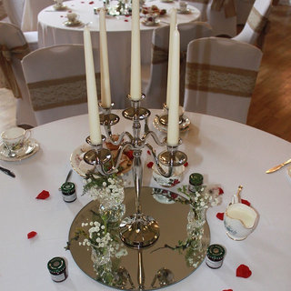 Round Mirror Plate and Candelabra for Wedding Hire