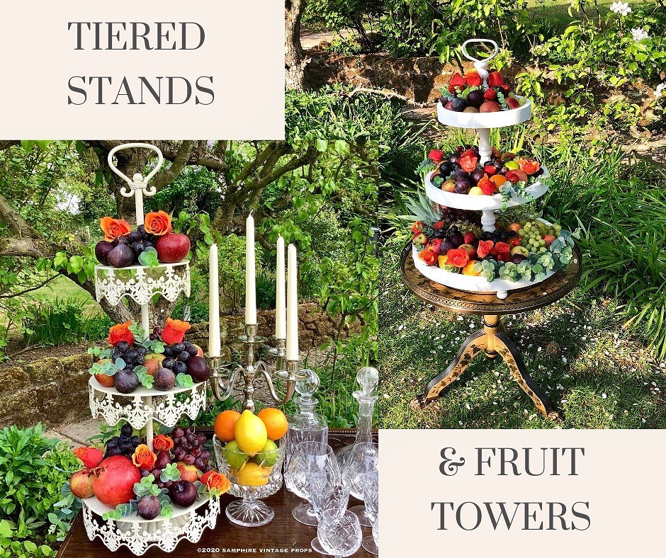 Vintage and Rustic Tiered Stands and Fruit Towers