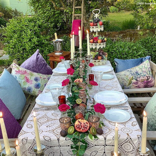 Intimate celebration outdoor dining tablescape