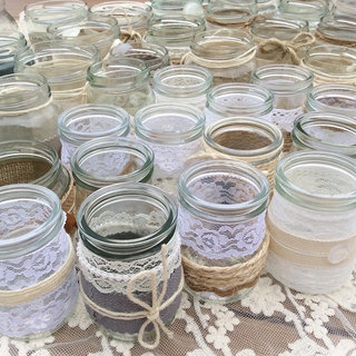 Vintage & Rustic Style Tea Light Jars Decorated with Hessian and Lace for Wedding Decor