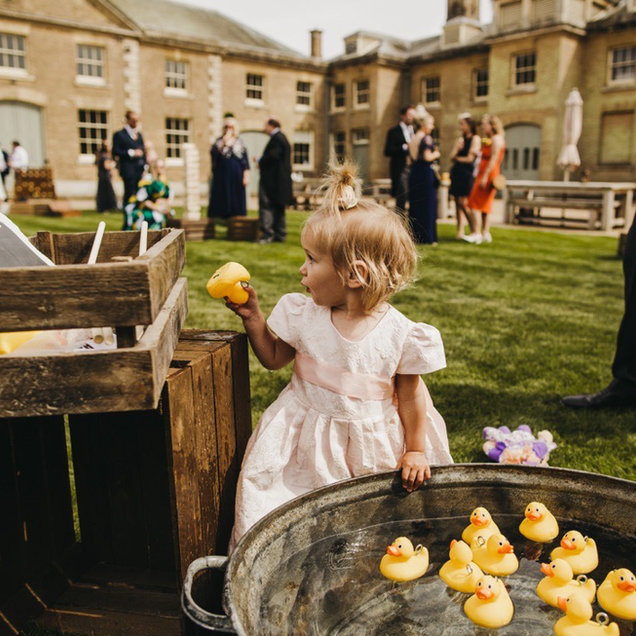 Hook a Duck Outdoor Game with Vintage Trough Hired for Wedding Holkham Hall