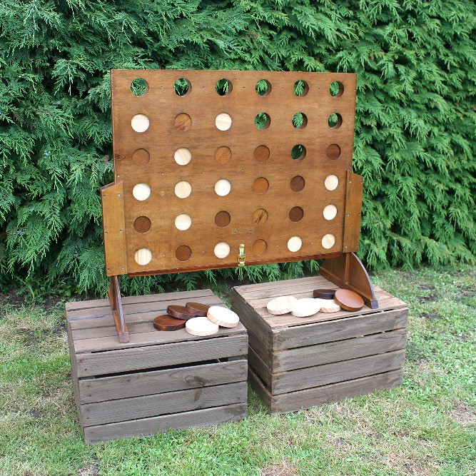 Giant Jacques Wooden Four in a Row Garden Game Hire