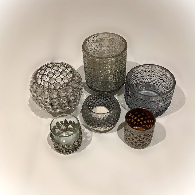 Assorted Grey and Glass Tea Light Holders