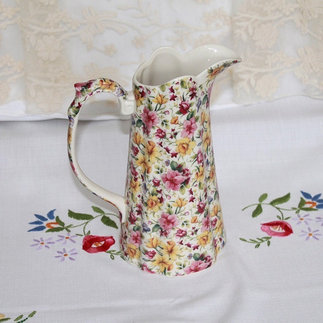 Floral Vintage Style Ceramic Jug Suitable for Vintage Wedding and Event Styling