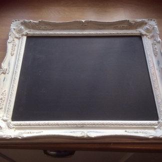 Rectangular White Ornate Framed Chalkboard