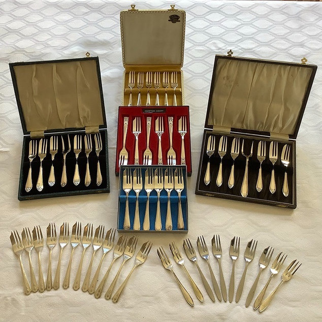 Silver Plated Cake Dessert Forks in Cases