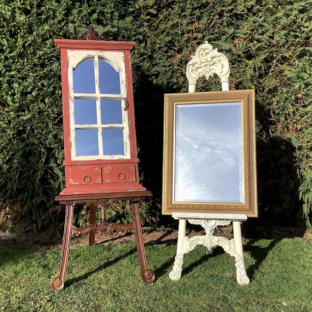 Vintage Style Wooden Easel & Ornate Mirrors for Wedding Table Plans