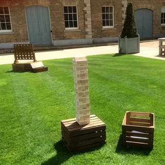 Giant Jenga Jaques Tumble Tower Giant Garden Game Hire Samphire Vintage Props Norfolk