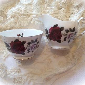 White and Deep Red Rose Vintage Bone China Milk Jug and Sugar Bowl