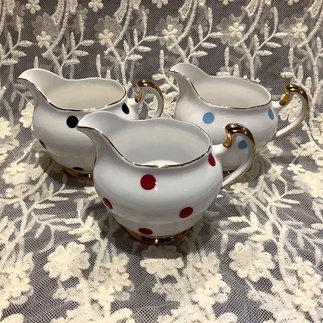 A trio of Royal Vale Polka Dot Vintage Milk Jugs