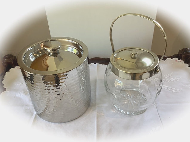 Chrome Ice Bucket and Vintage Glass Ice Bucket Hire