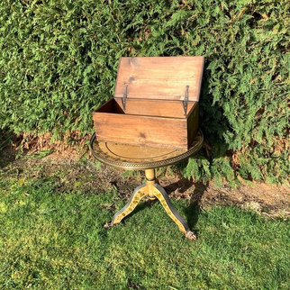 Antique Wooden Box with Hinged Lid. Hire for Card Collecting or Display