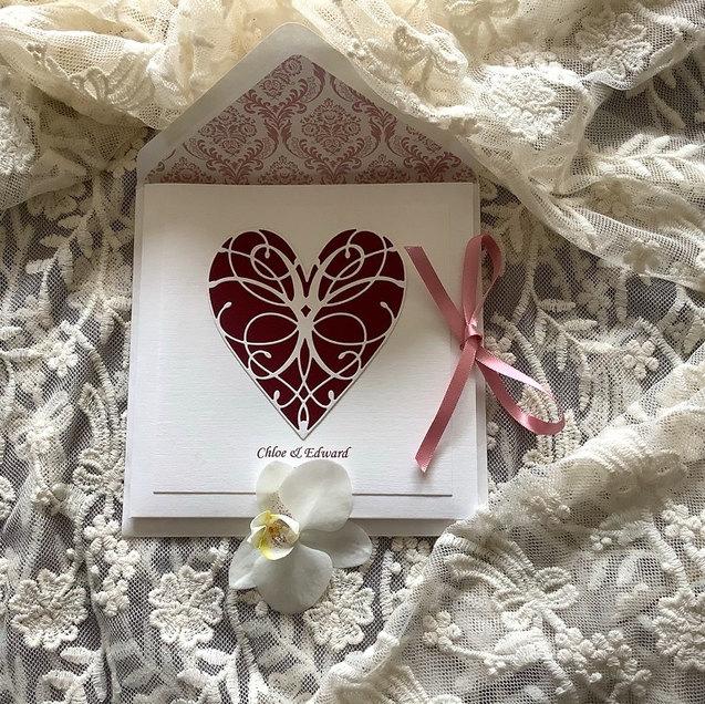 Bespoke Handmade Ivory Linen Wedding Heart Invitation Samphire Vintage Props Norfolk