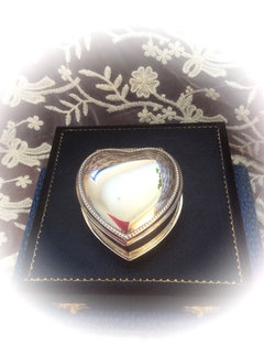 Silver Metal Heart Shaped Ring Box