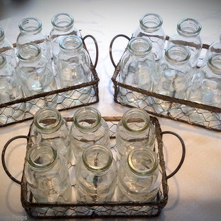 Mini Bottles in Crates Table Top Event Decor