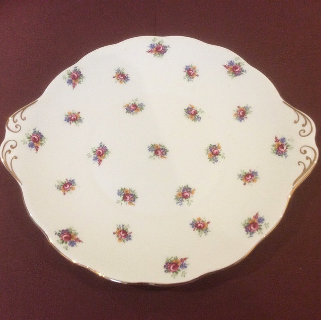 Vintage China Rose Bud Pattern Eared Cake Plate