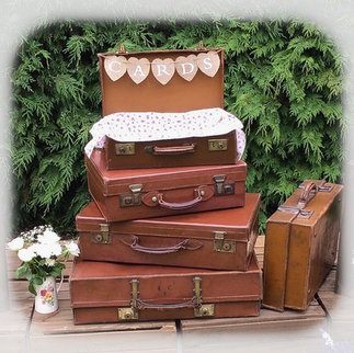 Vintage Suitcase Stack with Hessian Card Sign Wedding Birthday and Anniversary Card Collection Prop