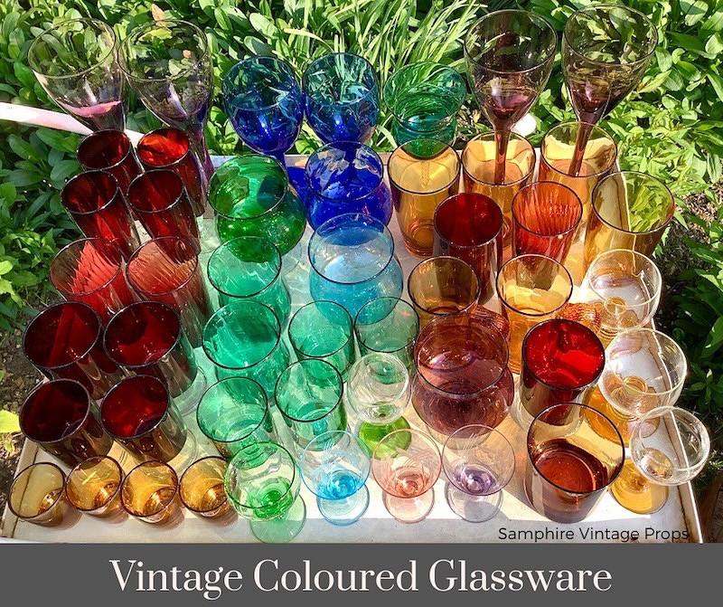 Vintage Coloured Glasware Hire